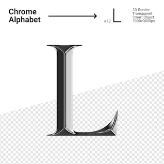 3d-chroom alfabet letter l.
