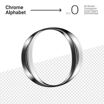 3d-chroom alfabet letter o