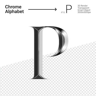 3d-chroom alfabet letter p.