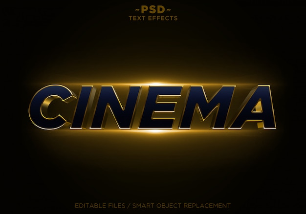 3d cinema glitter golden effects texto editable
