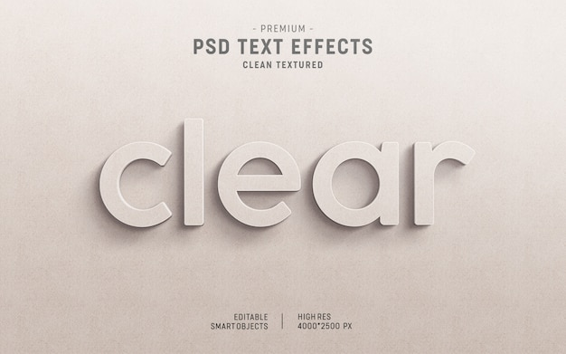 3d clear paper text effect mockup