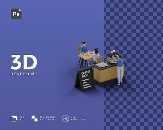 3d coffeeshop illustratie