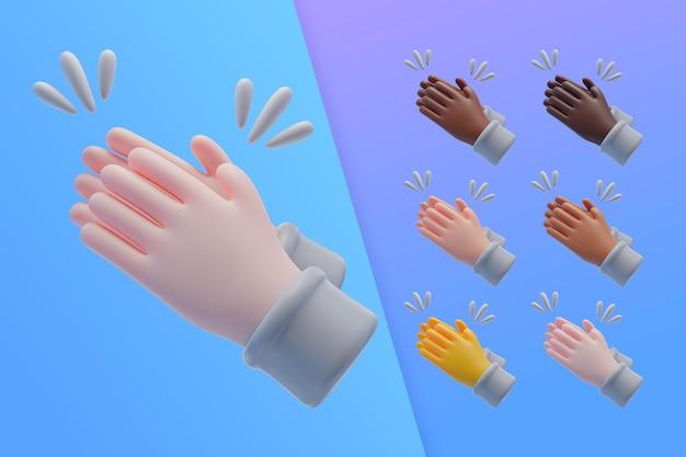 3d-collectie met handen applaudisseren
