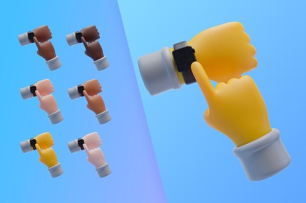 3d-collectie met handen met polshorloge