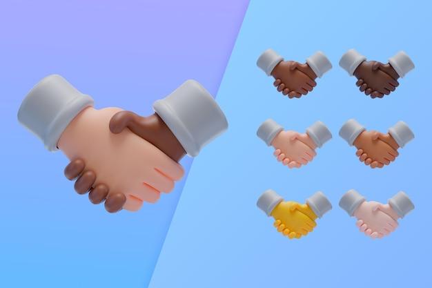 3d-collectie met handen schudden in overeenstemming