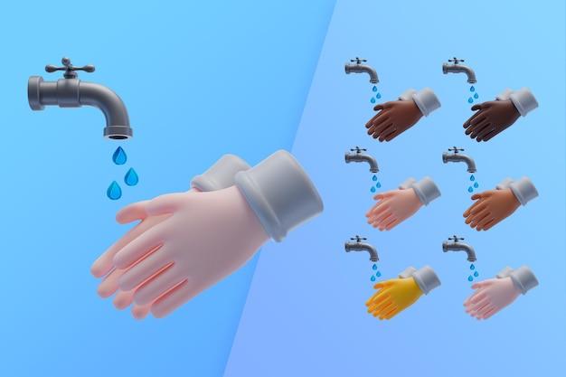 3d-collectie met handen wassen onder leidingwater