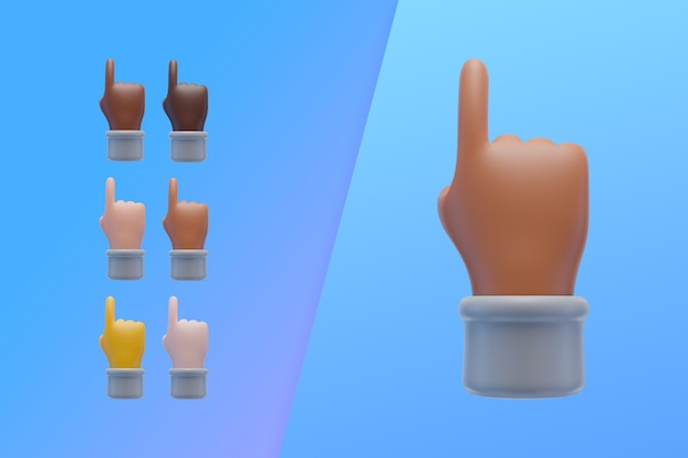 3d-collectie met handen wijsvinger omhoog