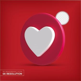 3d como corazón de botón aislado