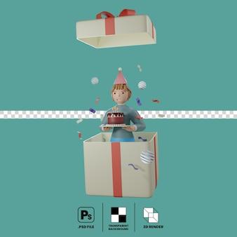 3d-concept van het meisje met verjaardagstaart in de geschenkdoos