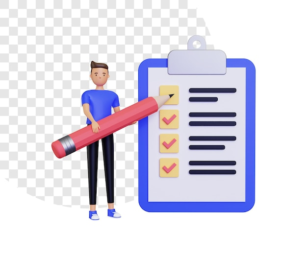 3d-controlelijstillustratie met mannelijk karakter dat een groot potlood draagt
