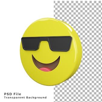 3d-cool emoticon-pictogram van hoge kwaliteit psd-bestanden weergeven