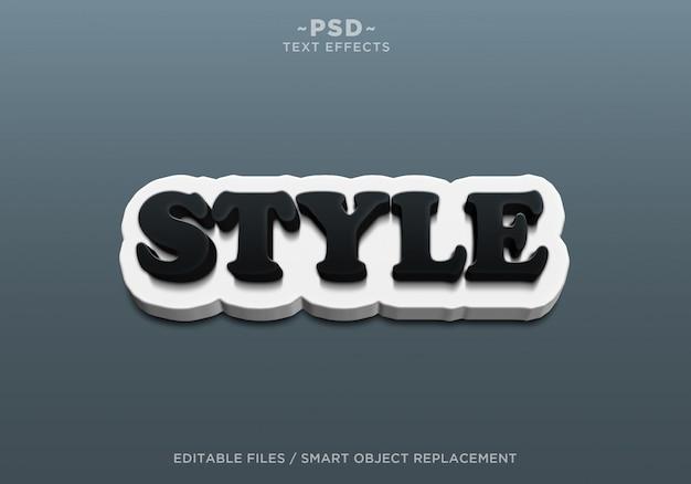 3d crear estilo blanco y negro efectos de texto editables