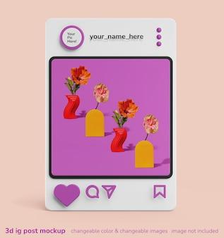 3d creatieve mockup van enkele instagram apps frame post interface mockup