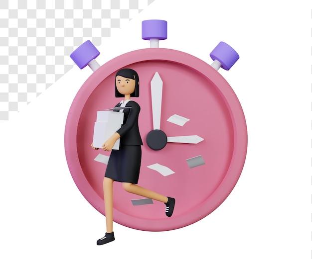 3d deadline met zakenvrouw karakter en klok character