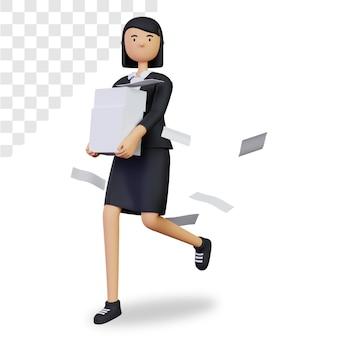 3d-deadline met zakenvrouwkarakter