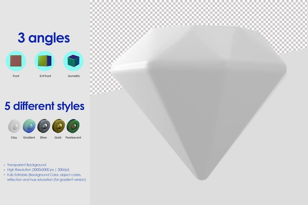 3d diamant pictogram
