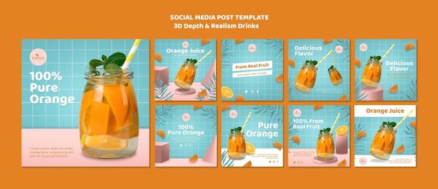 3d diepte en realisme drinkt social media postsjabloon
