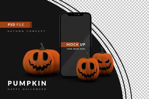 3d digitaal halloween-model met smartphone en pompoenen die glimlachen