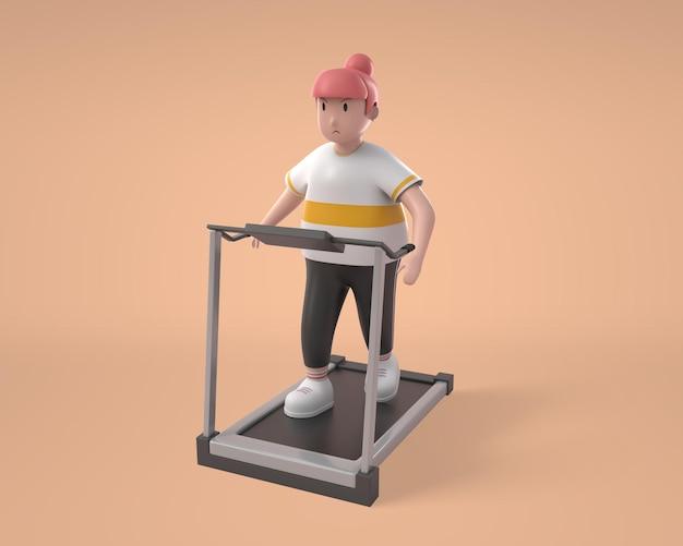 3d-dikke vrouw die op run machine-karakter rent