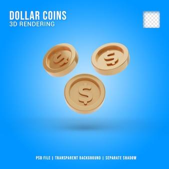 3d-dollar munt pictogram geïsoleerd