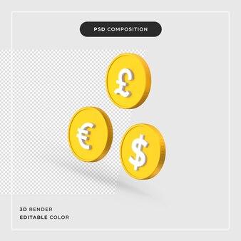 3d-dollar pond euro realistisch concept