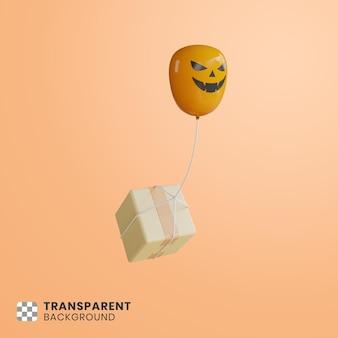 3d doos drijvend met pompoenballonnen