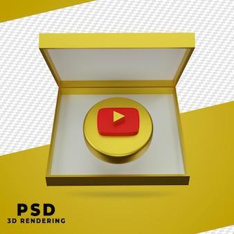 3d doos gouden youtube-rendering geïsoleerd