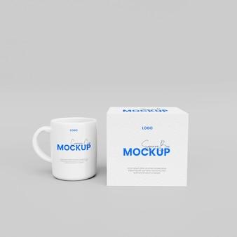 3d-doos met mok mockup-ontwerp