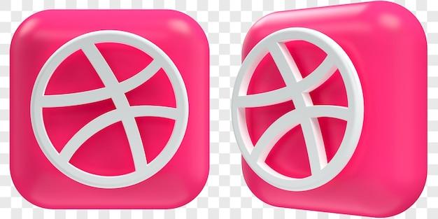 3d dribbble-pictogrammen in twee hoeken aan de voorkant en driekwart geïsoleerde illustraties