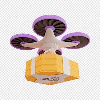 3d-drone bezorgt dozen met pizza contactloze bezorging van voedselbezorging moderne technologieën