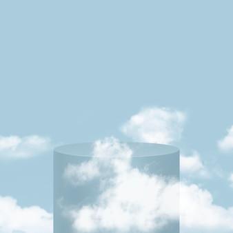 3d eenvoudig productpodium psd met wolken op blauwe achtergrond