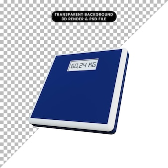 3d eenvoudige illustratie van een digitaal weegschaalobject