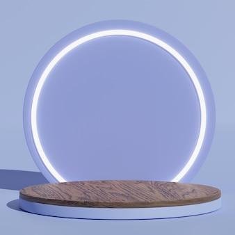 3d-eenvoudige minimale abstracte blauwe houten podiummuurscène met mockup-display met cirkelachtergrond