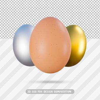 3d egg pack in 3d-rendering geïsoleerd Premium Psd