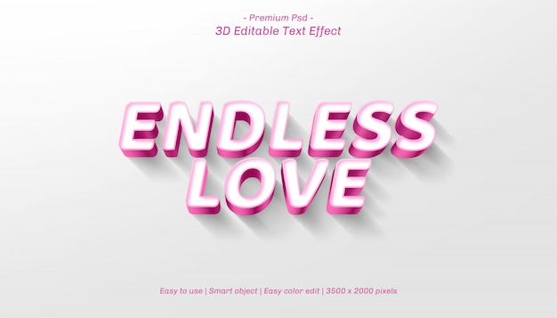 3d eindeloos liefde bewerkbaar teksteffect