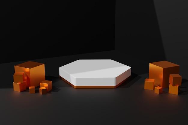 3d-elegante gouden en witte podiumscène-achtergrond