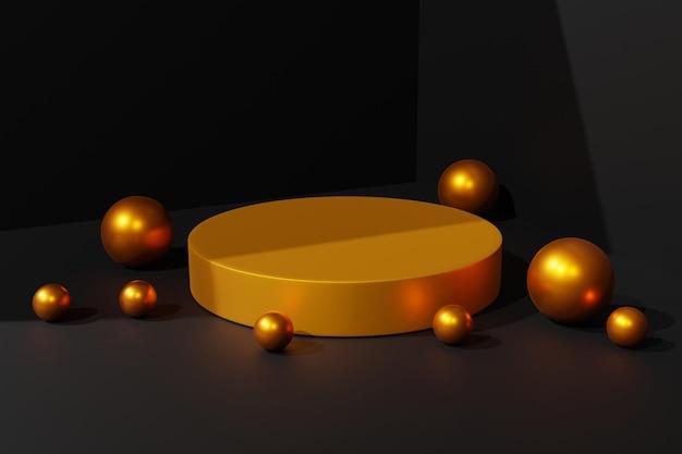 3d-elegante gouden podiumscène-achtergrond