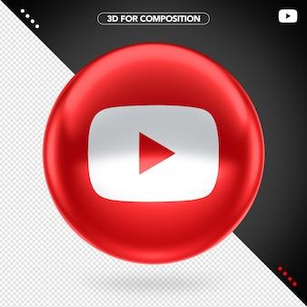 3d elipse frontal rojo icono rojo de youtube