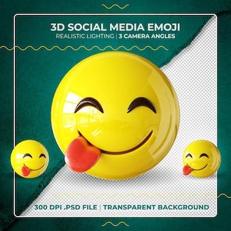 3d emoji geïsoleerd op de tong bijten
