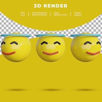 3d emoji sociale media gezicht vrolijke glimlach halo rendering