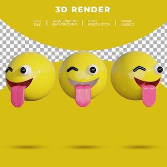 3d emoji sociale media gezicht vrolijke glimlach tong weergave