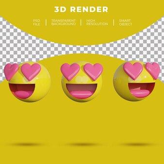 3d-emoji sociale media worden verliefd op rendering