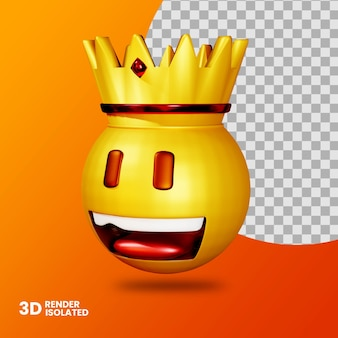 3d emoticon draag kroon geïsoleerd