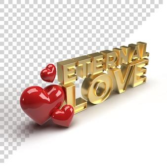 3d eternal love-tekst voor valentine-vieringgoud geeft met hart terug