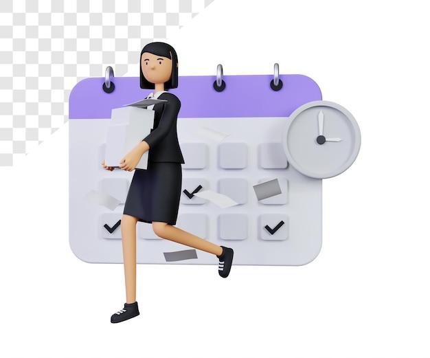 3d-evenementdeadline met zakenvrouwkarakter