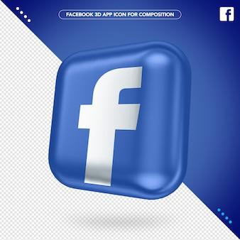 3d facebook-app gedraaid knopmodel