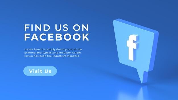 3d facebook logo geïsoleerd web concept