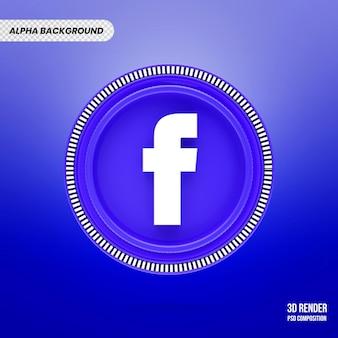 3d facebook logo geïsoleerde rendering