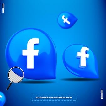 3d facebook-pictogram in geïsoleerde berichtballon voor samenstelling