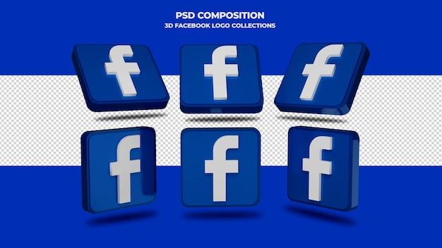 3d facebook-pictogramcollecties geïsoleerd